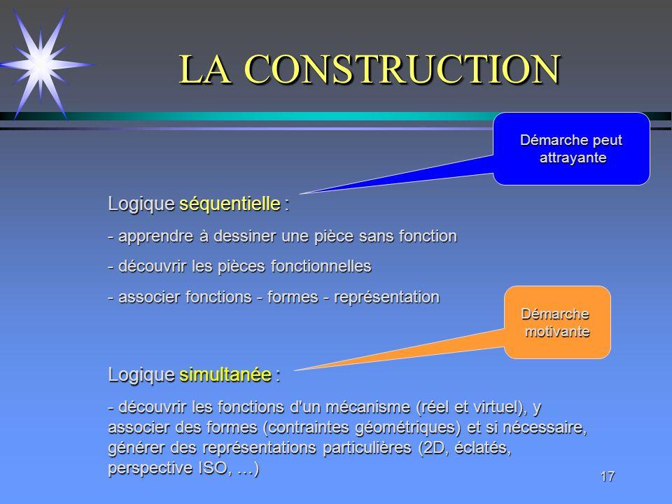 17 LA CONSTRUCTION Logique séquentielle : - apprendre à dessiner une pièce sans fonction - découvrir les pièces fonctionnelles - associer fonctions -