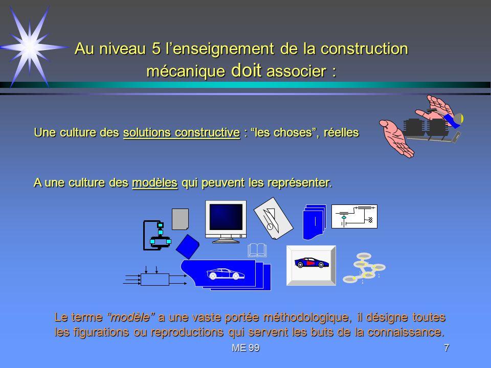 ME 997 Au niveau 5 lenseignement de la construction mécanique doit associer : Une culture des solutions constructive : les choses, réelles A une cultu
