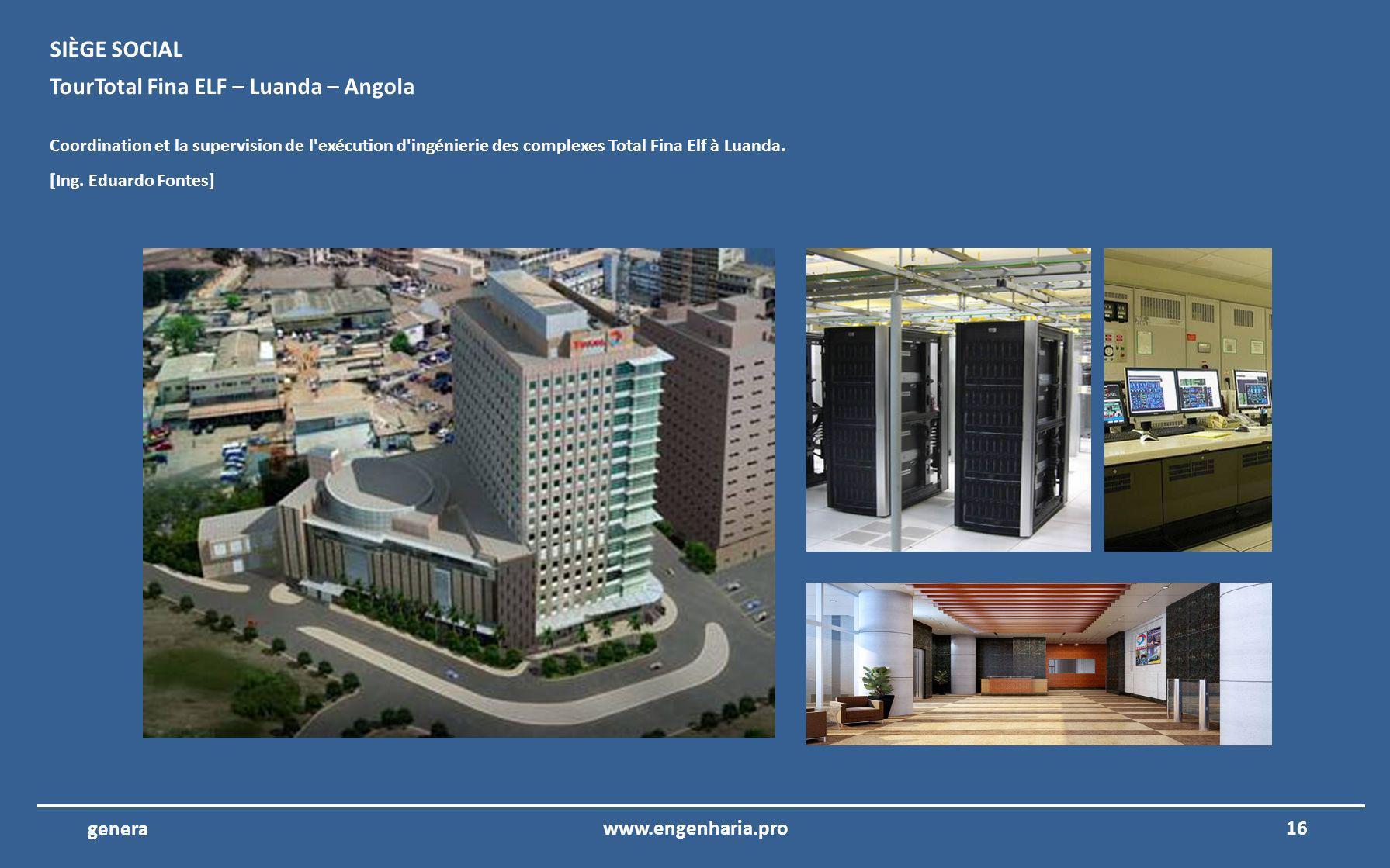 15www.engenharia.pro genera Aéroport international de Algarve – Faro – ANA Coordination et la supervision de l exécution des projets d ingénierie de la reconstruction des comptoirs d enregistrement et la zone publique de l aéroport.