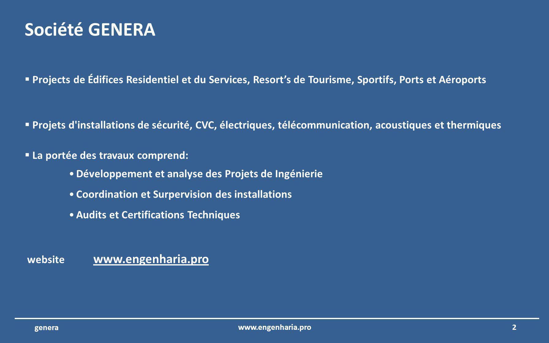 GENERA LTD – Projects dIngénierie assurance de la qualité et de lefficacité www.engenharia.pro