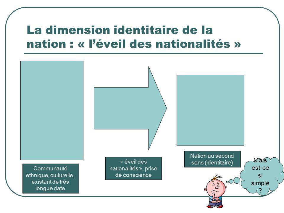 La dimension identitaire de la nation : « léveil des nationalités » Mais est-ce si simple ? Communauté ethnique, culturelle, existant de très longue d