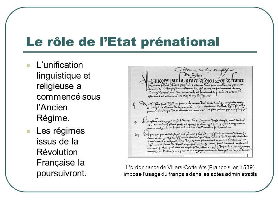 Le rôle de lEtat prénational Lunification linguistique et religieuse a commencé sous lAncien Régime. Les régimes issus de la Révolution Française la p
