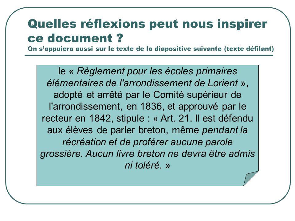 le « Règlement pour les écoles primaires élémentaires de l'arrondissement de Lorient », adopté et arrêté par le Comité supérieur de l'arrondissement,