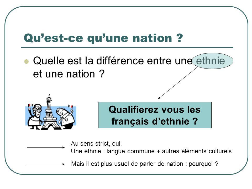 Quest-ce quune nation ? Quelle est la différence entre une ethnie et une nation ? Qualifierez vous les français dethnie ? Au sens strict, oui. Une eth