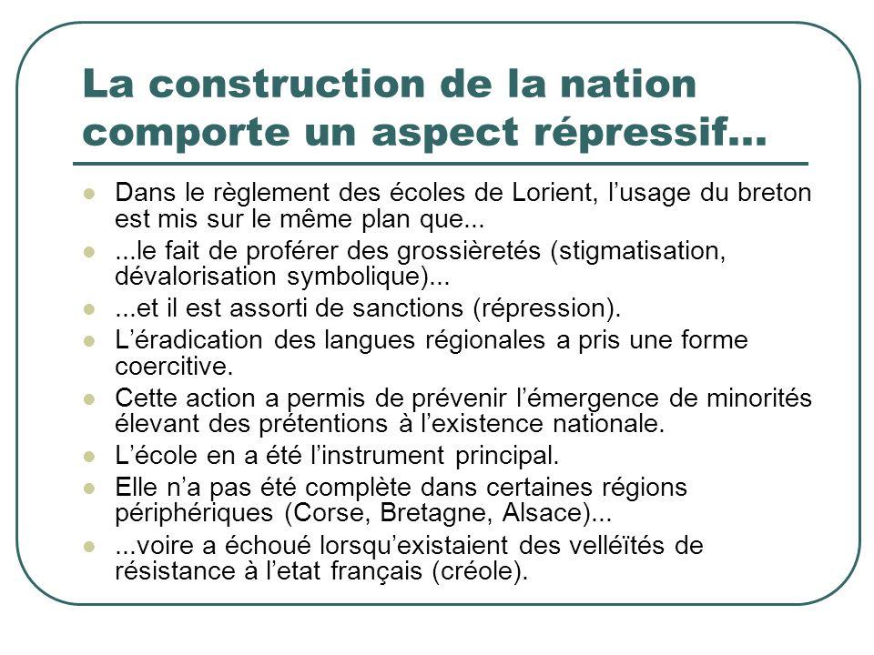 La construction de la nation comporte un aspect répressif... Dans le règlement des écoles de Lorient, lusage du breton est mis sur le même plan que...
