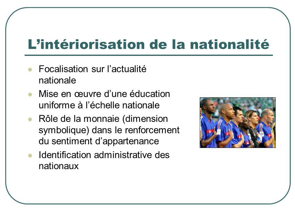 Lintériorisation de la nationalité Focalisation sur lactualité nationale Mise en œuvre dune éducation uniforme à léchelle nationale Rôle de la monnaie