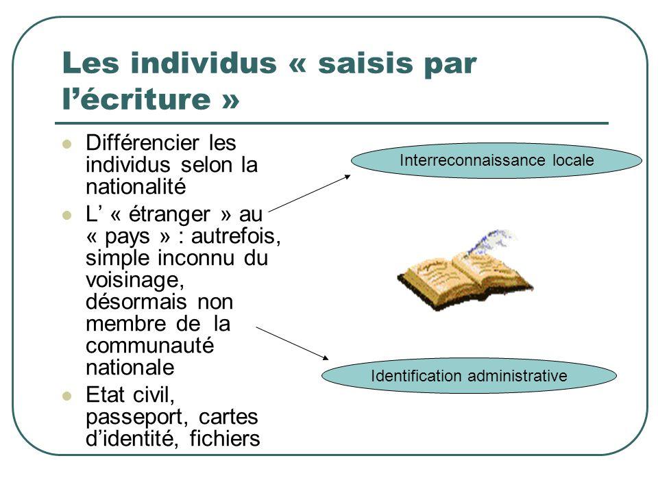 Les individus « saisis par lécriture » Interreconnaissance locale Identification administrative Différencier les individus selon la nationalité L « ét