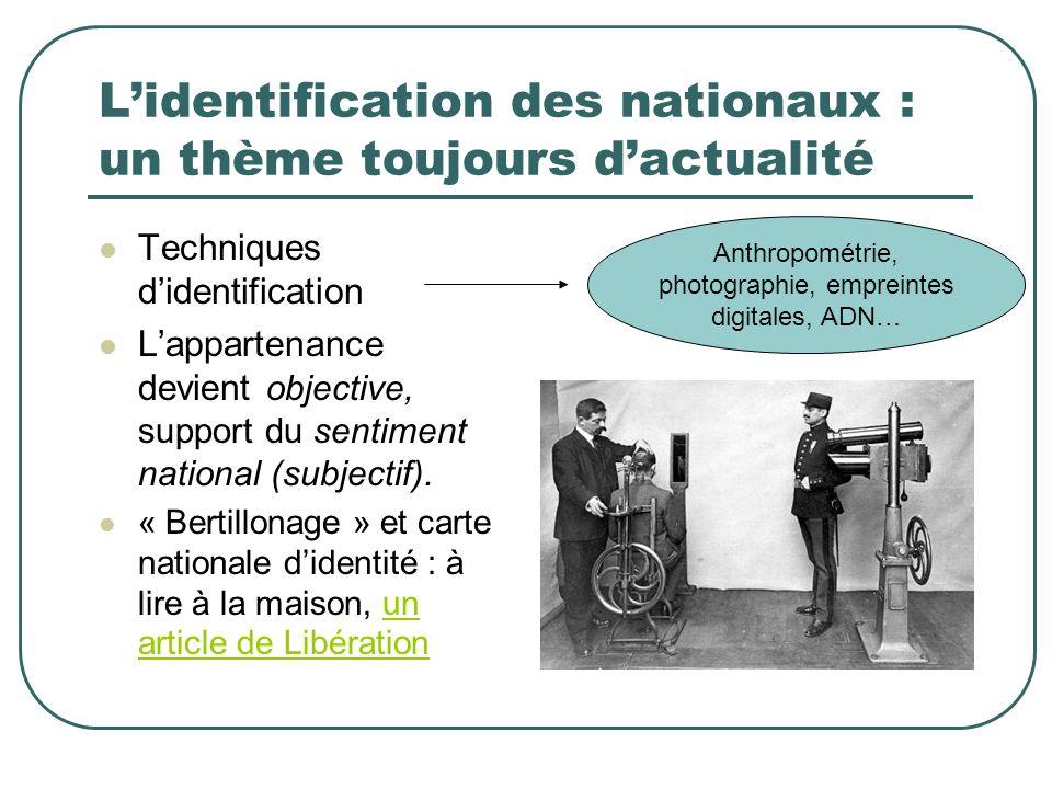 Lidentification des nationaux : un thème toujours dactualité Techniques didentification Lappartenance devient objective, support du sentiment national