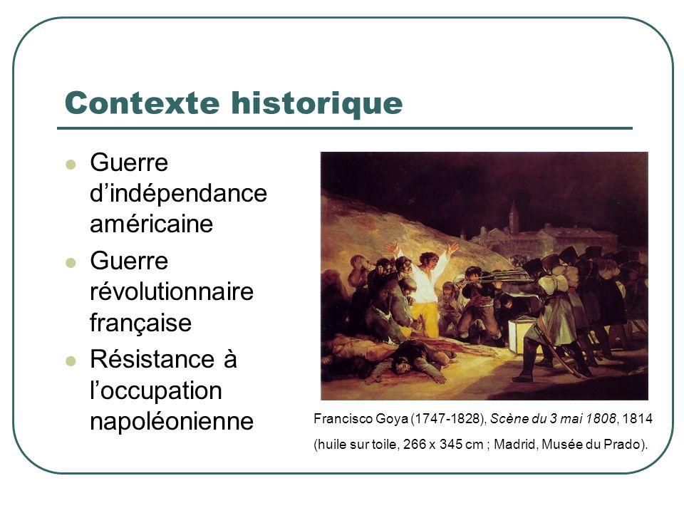 Contexte historique Guerre dindépendance américaine Guerre révolutionnaire française Résistance à loccupation napoléonienne Francisco Goya (1747-1828)
