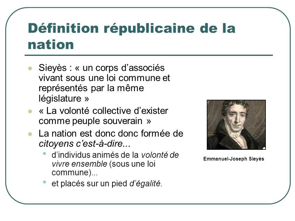 Définition républicaine de la nation Sieyès : « un corps dassociés vivant sous une loi commune et représentés par la même législature » « La volonté c