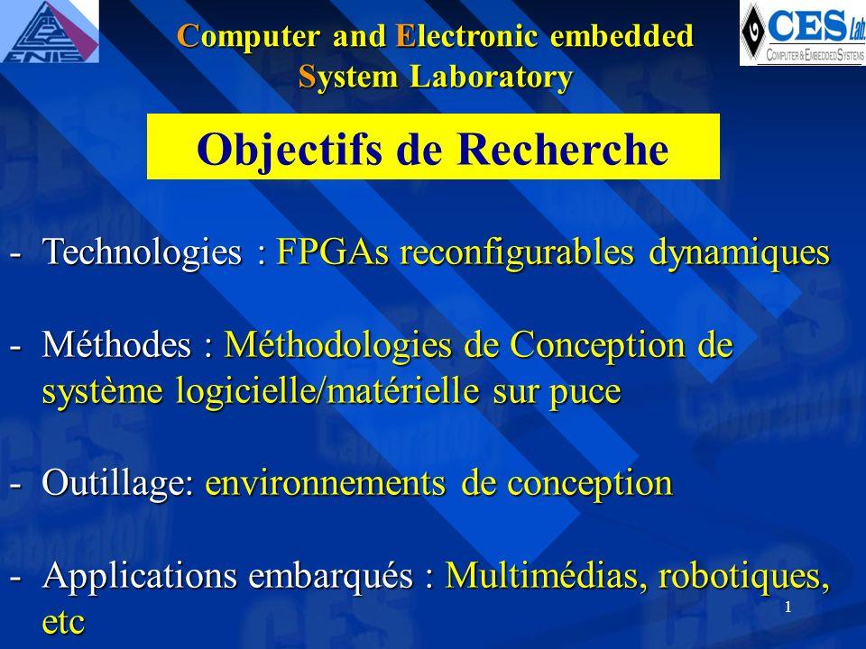 1 -Technologies : FPGAs reconfigurables dynamiques -Méthodes : Méthodologies de Conception de système logicielle/matérielle sur puce -Outillage: environnements de conception -Applications embarqués : Multimédias, robotiques, etc Objectifs de Recherche Computer and Electronic embedded System Laboratory