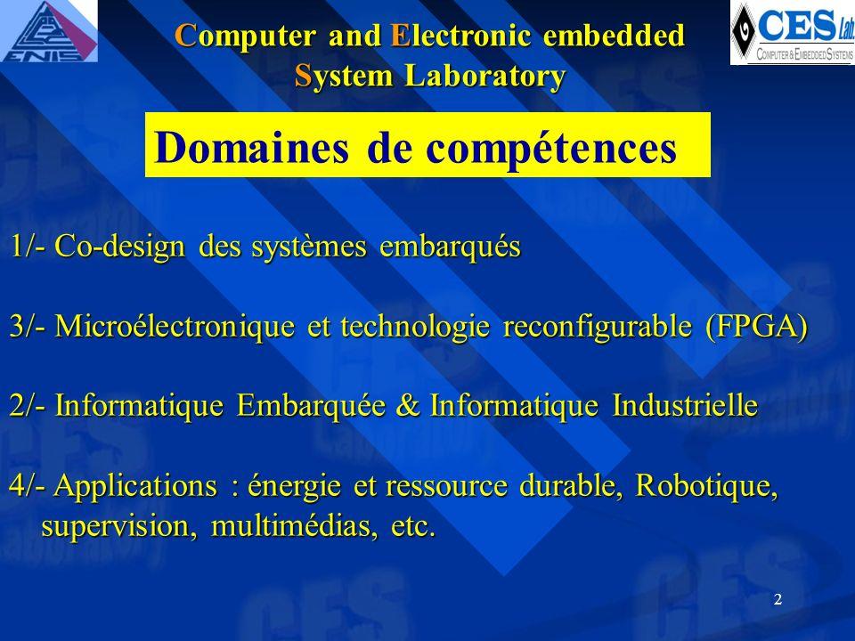 2 1/- Co-design des systèmes embarqués 3/- Microélectronique et technologie reconfigurable (FPGA) 2/- Informatique Embarquée & Informatique Industrielle 4/- Applications : énergie et ressource durable, Robotique, supervision, multimédias, etc.