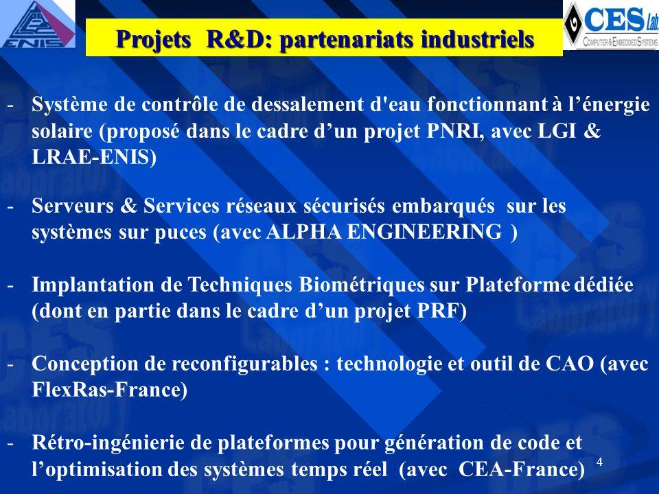4 -Système de contrôle de dessalement d eau fonctionnant à lénergie solaire (proposé dans le cadre dun projet PNRI, avec LGI & LRAE-ENIS) -Serveurs & Services réseaux sécurisés embarqués sur les systèmes sur puces (avec ALPHA ENGINEERING ) -Implantation de Techniques Biométriques sur Plateforme dédiée (dont en partie dans le cadre dun projet PRF) -Conception de reconfigurables : technologie et outil de CAO (avec FlexRas-France) -Rétro-ingénierie de plateformes pour génération de code et loptimisation des systèmes temps réel (avec CEA-France) Projets R&D: partenariats industriels