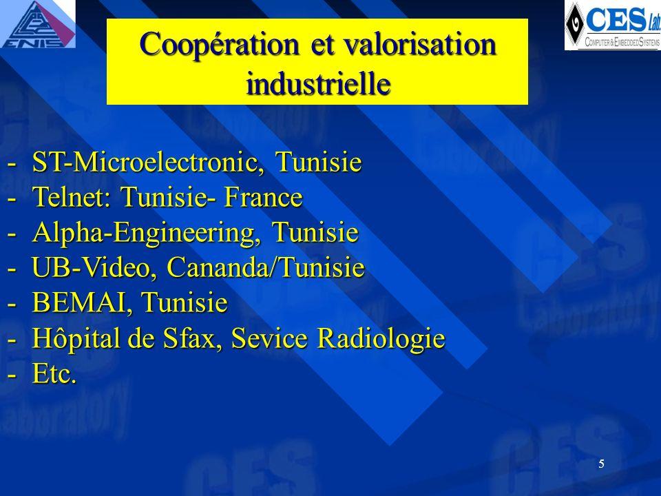 5 -ST-Microelectronic, Tunisie -Telnet: Tunisie- France -Alpha-Engineering, Tunisie - UB-Video, Cananda/Tunisie -BEMAI, Tunisie -Hôpital de Sfax, Sevice Radiologie -Etc.