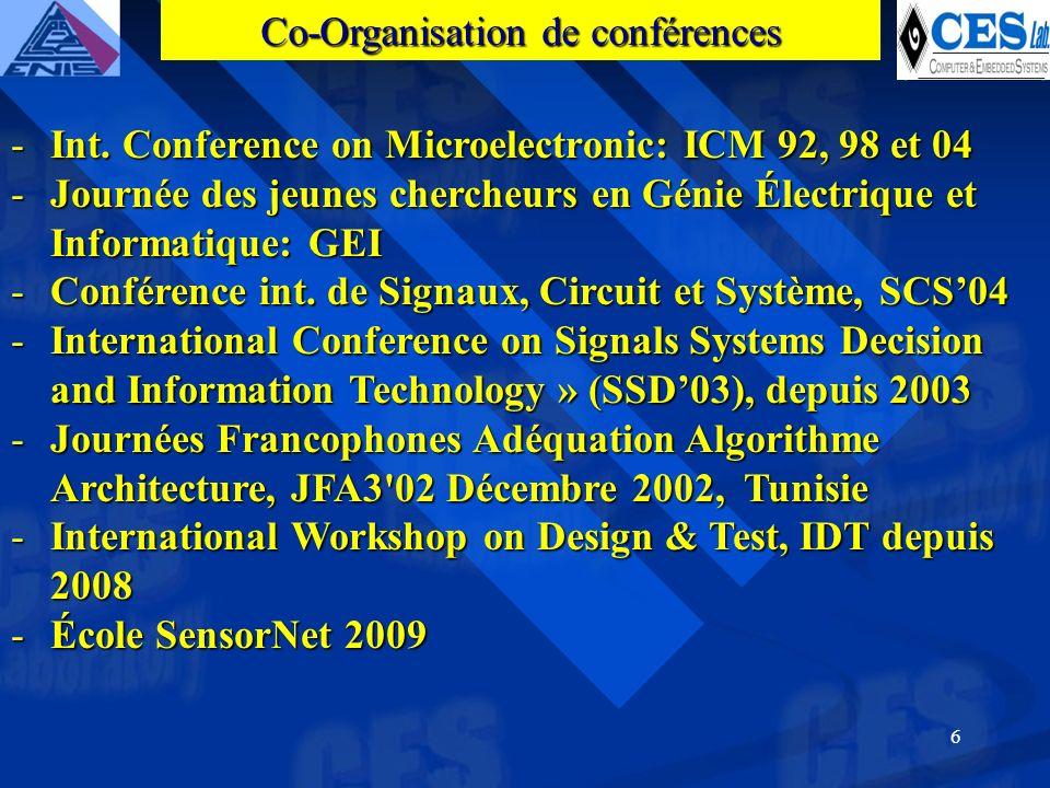 6 -Int. Conference on Microelectronic: ICM 92, 98 et 04 -Journée des jeunes chercheurs en Génie Électrique et Informatique: GEI -Conférence int. de Si