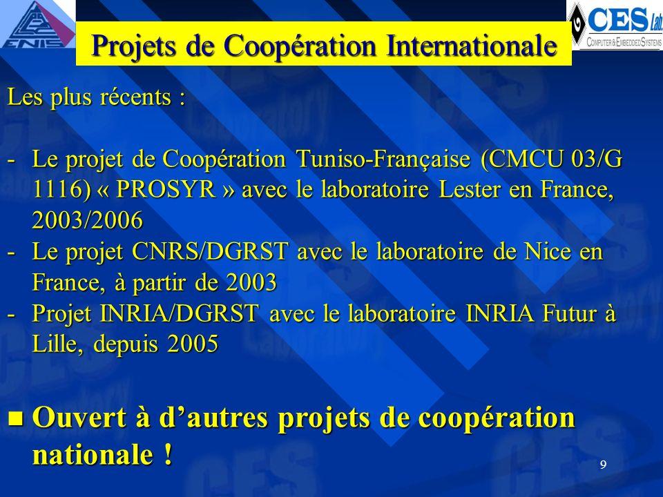 9 Les plus récents : -Le projet de Coopération Tuniso-Française (CMCU 03/G 1116) « PROSYR » avec le laboratoire Lester en France, 2003/2006 -Le projet CNRS/DGRST avec le laboratoire de Nice en France, à partir de 2003 -Projet INRIA/DGRST avec le laboratoire INRIA Futur à Lille, depuis 2005 Ouvert à dautres projets de coopération nationale .