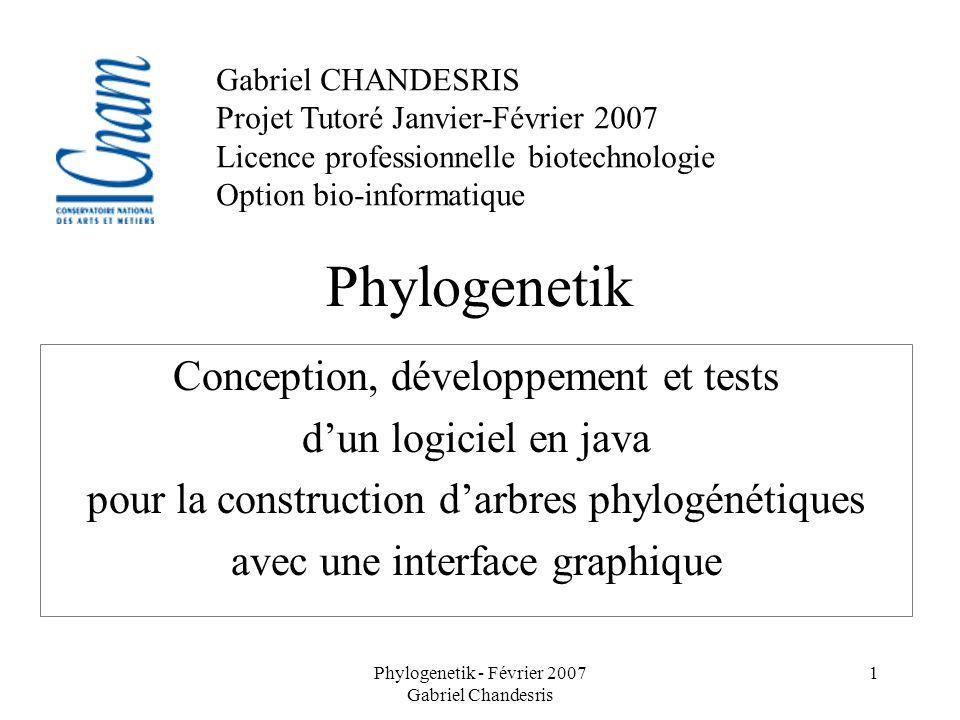 Phylogenetik - Février 2007 Gabriel Chandesris 1 Phylogenetik Conception, développement et tests dun logiciel en java pour la construction darbres phy