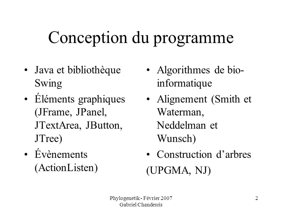 Phylogenetik - Février 2007 Gabriel Chandesris 2 Conception du programme Java et bibliothèque Swing Éléments graphiques (JFrame, JPanel, JTextArea, JB