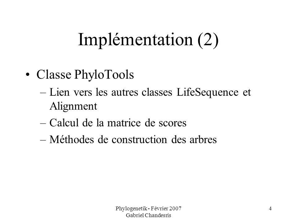 Phylogenetik - Février 2007 Gabriel Chandesris 4 Implémentation (2) Classe PhyloTools –Lien vers les autres classes LifeSequence et Alignment –Calcul de la matrice de scores –Méthodes de construction des arbres