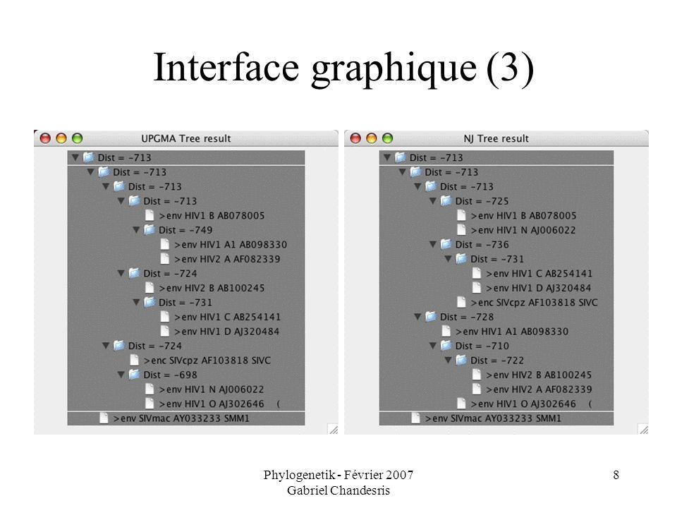 Phylogenetik - Février 2007 Gabriel Chandesris 8 Interface graphique (3)