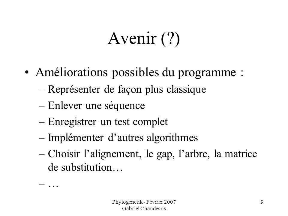 Phylogenetik - Février 2007 Gabriel Chandesris 9 Avenir (?) Améliorations possibles du programme : –Représenter de façon plus classique –Enlever une s