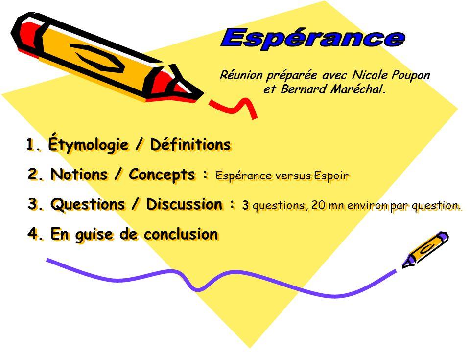 1. Étymologie / Définitions 2. Notions / Concepts : Espérance versus Espoir 3. Questions / Discussion : 3 questions, 20 mn environ par question. 4. En