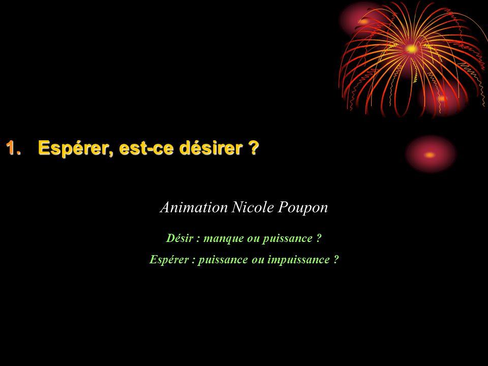 1.Espérer, est-ce désirer ? Animation Nicole Poupon Désir : manque ou puissance ? Espérer : puissance ou impuissance ?
