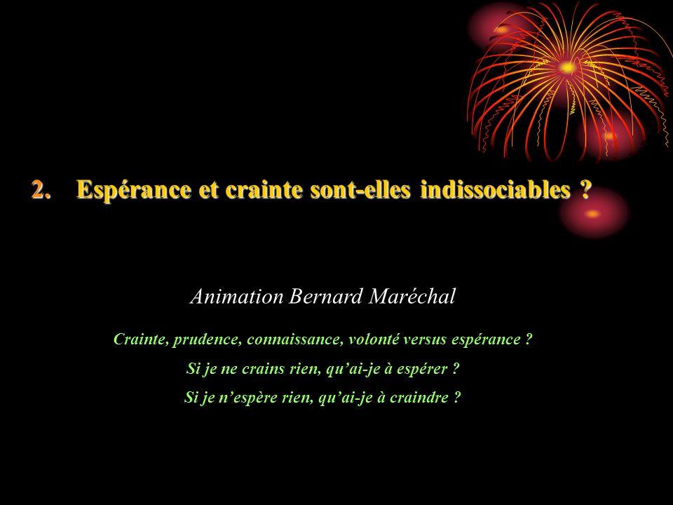 2.Espérance et crainte sont-elles indissociables ? Animation Bernard Maréchal Crainte, prudence, connaissance, volonté versus espérance ? Si je ne cra