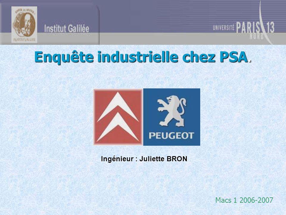 Enquête industrielle chez PSA. Macs 1 2006-2007 Ingénieur : Juliette BRON