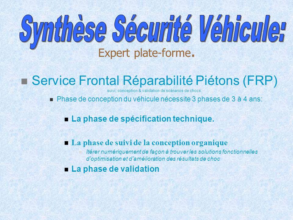 Service Frontal Réparabilité Piétons (FRP) suivi, conception & validation de scénarios de chocs. Phase de conception du véhicule nécessite 3 phases de