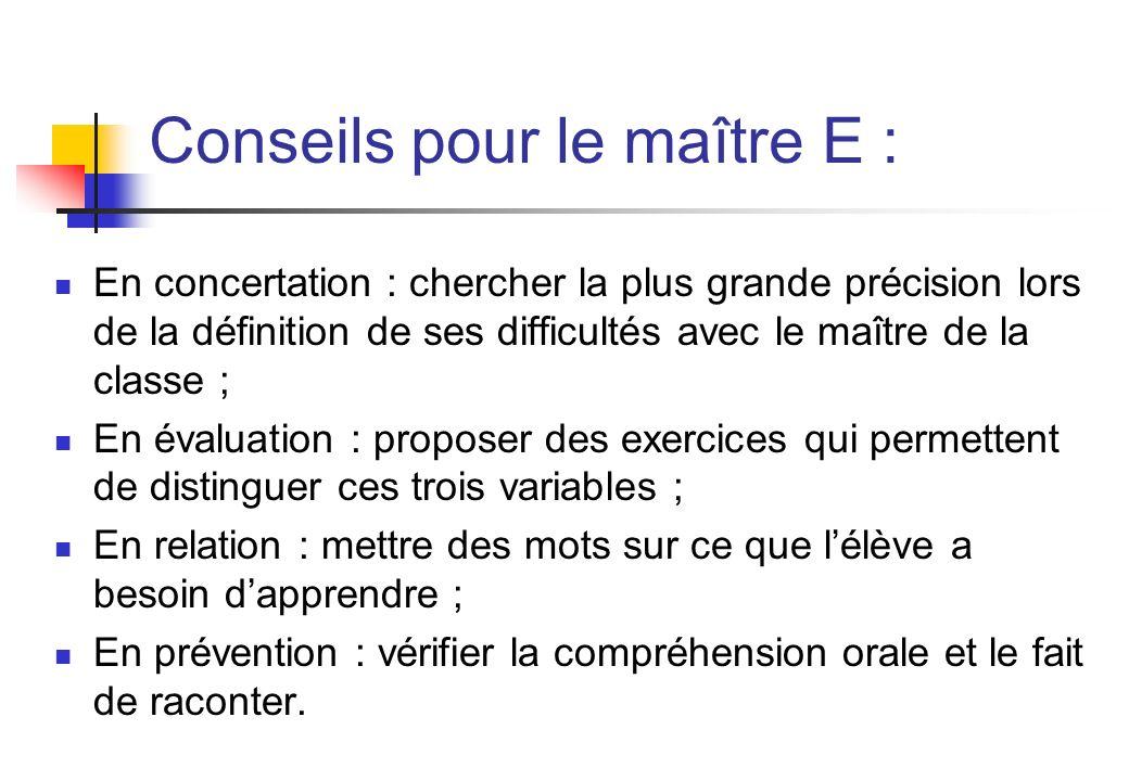 Conseils pour le maître E : En concertation : chercher la plus grande précision lors de la définition de ses difficultés avec le maître de la classe ;
