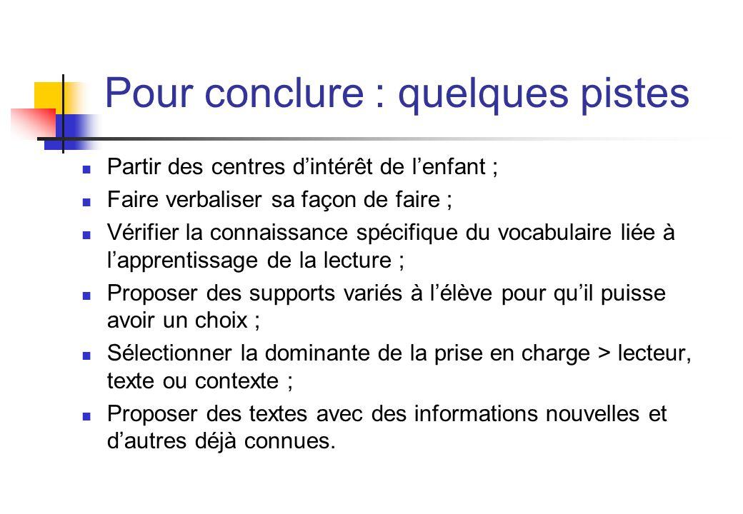 Pour conclure : quelques pistes Partir des centres dintérêt de lenfant ; Faire verbaliser sa façon de faire ; Vérifier la connaissance spécifique du v