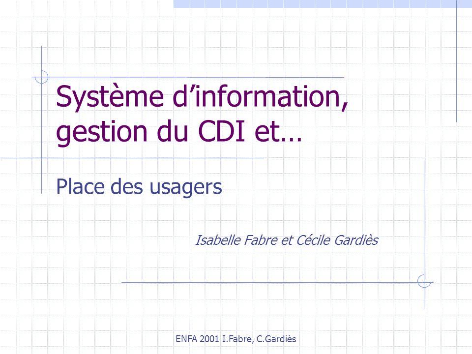 ENFA 2001 I.Fabre, C.Gardiès Système dinformation, gestion du CDI et… Place des usagers Isabelle Fabre et Cécile Gardiès