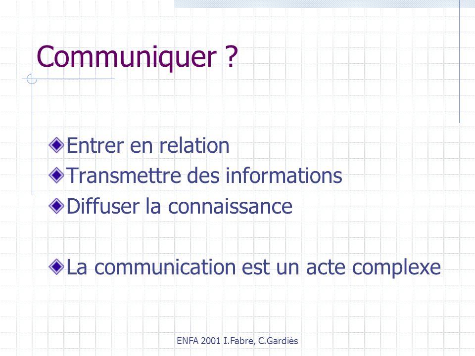 ENFA 2001 I.Fabre, C.Gardiès Communiquer ? Entrer en relation Transmettre des informations Diffuser la connaissance La communication est un acte compl