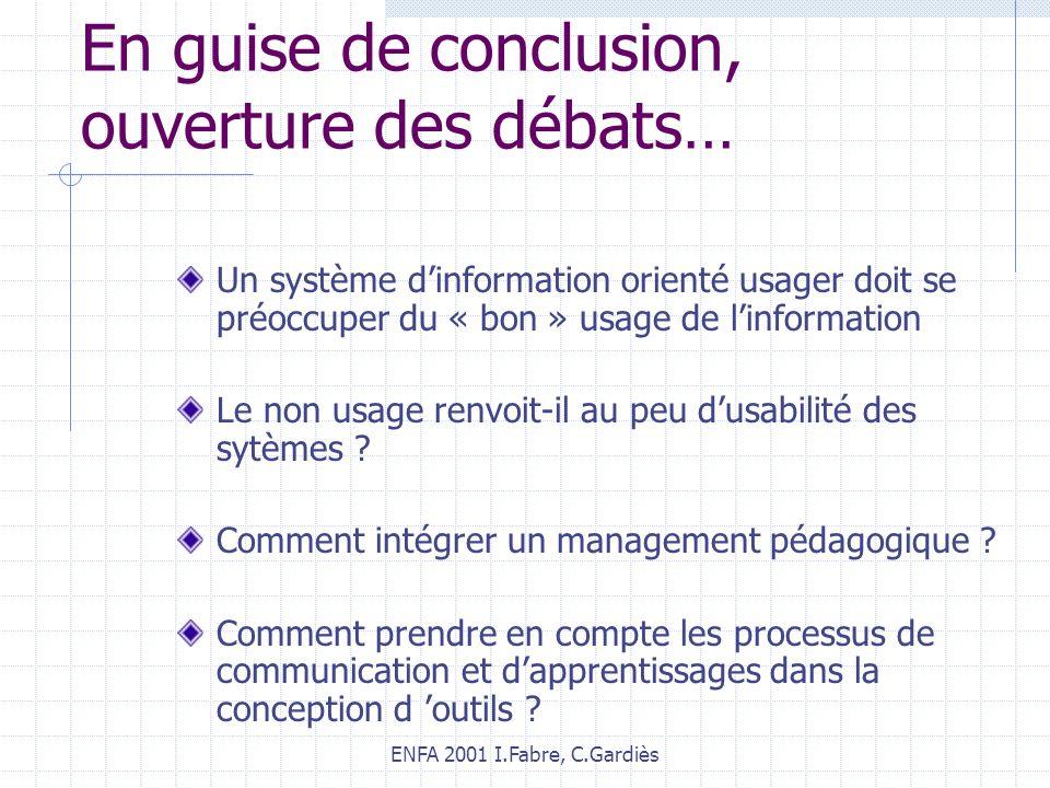 ENFA 2001 I.Fabre, C.Gardiès En guise de conclusion, ouverture des débats… Un système dinformation orienté usager doit se préoccuper du « bon » usage