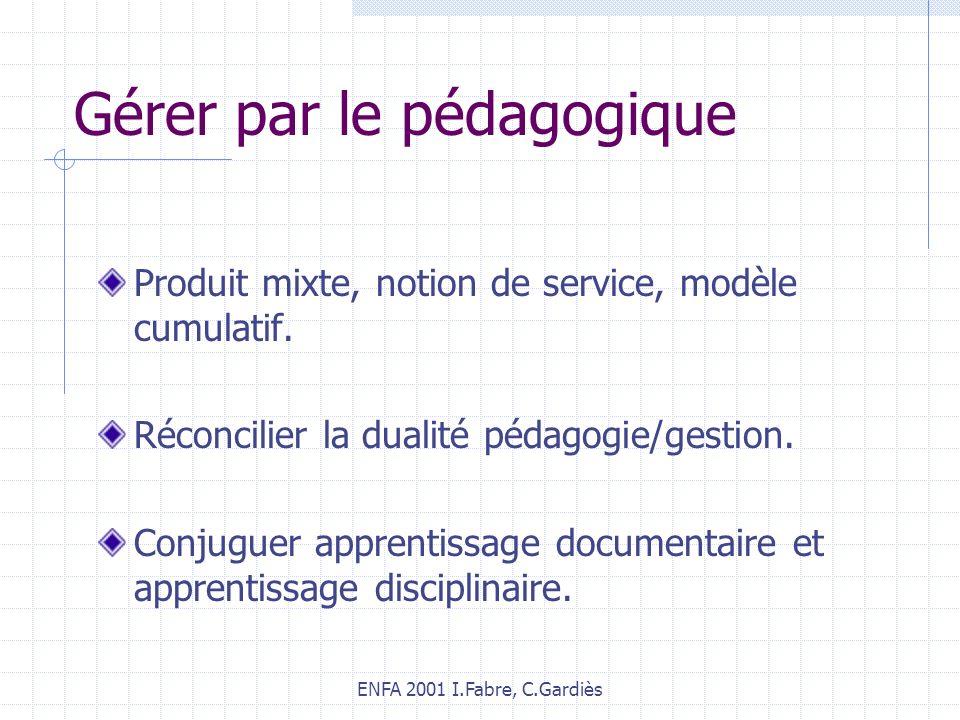 ENFA 2001 I.Fabre, C.Gardiès Gérer par le pédagogique Produit mixte, notion de service, modèle cumulatif. Réconcilier la dualité pédagogie/gestion. Co