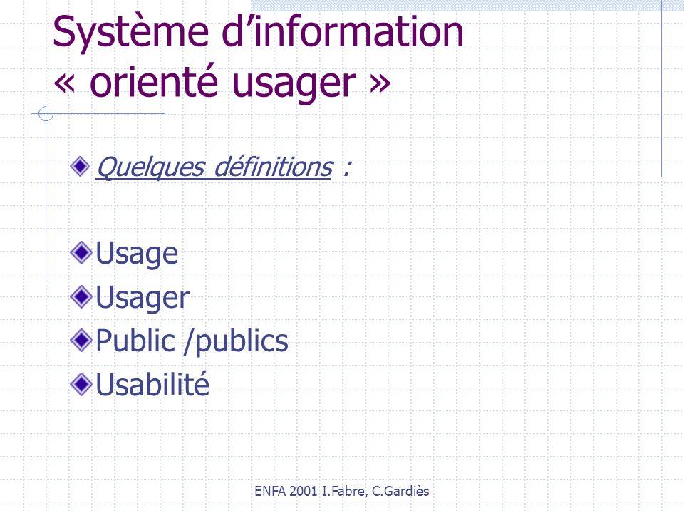 ENFA 2001 I.Fabre, C.Gardiès Système dinformation « orienté usager » Quelques définitions : Usage Usager Public /publics Usabilité
