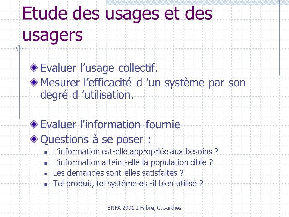ENFA 2001 I.Fabre, C.Gardiès Etude des usages et des usagers Evaluer lusage collectif. Mesurer lefficacité d un système par son degré d utilisation. E