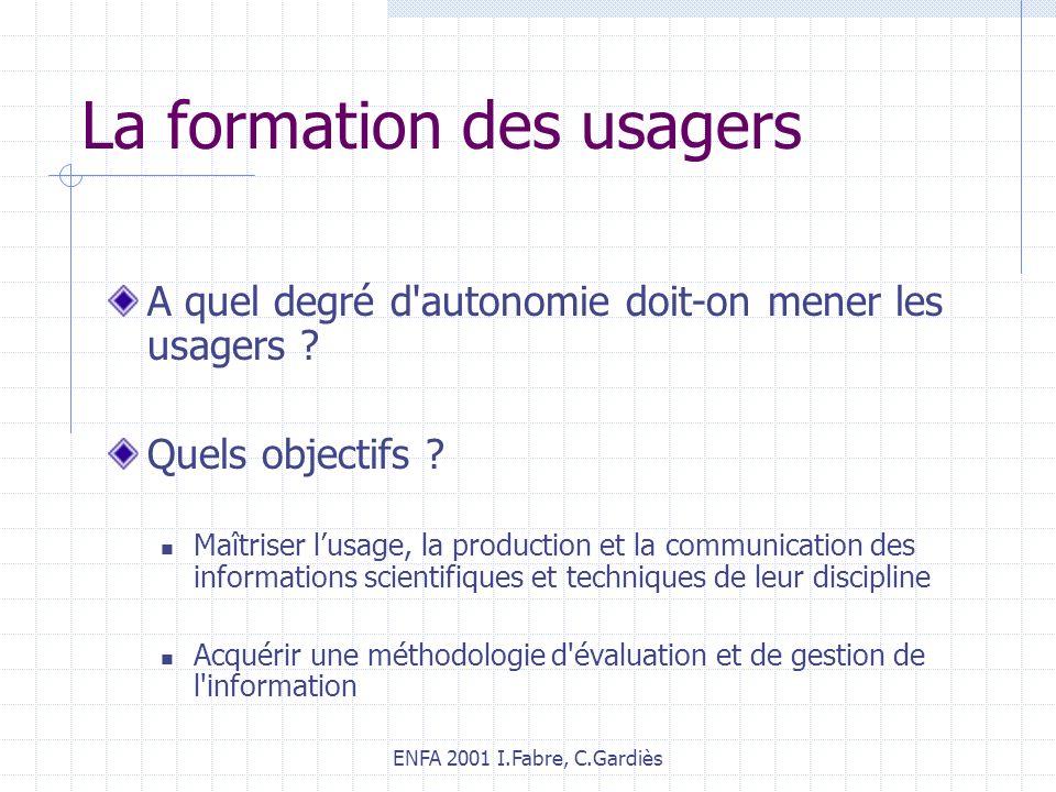 ENFA 2001 I.Fabre, C.Gardiès La formation des usagers A quel degré d'autonomie doit-on mener les usagers ? Quels objectifs ? Maîtriser lusage, la prod