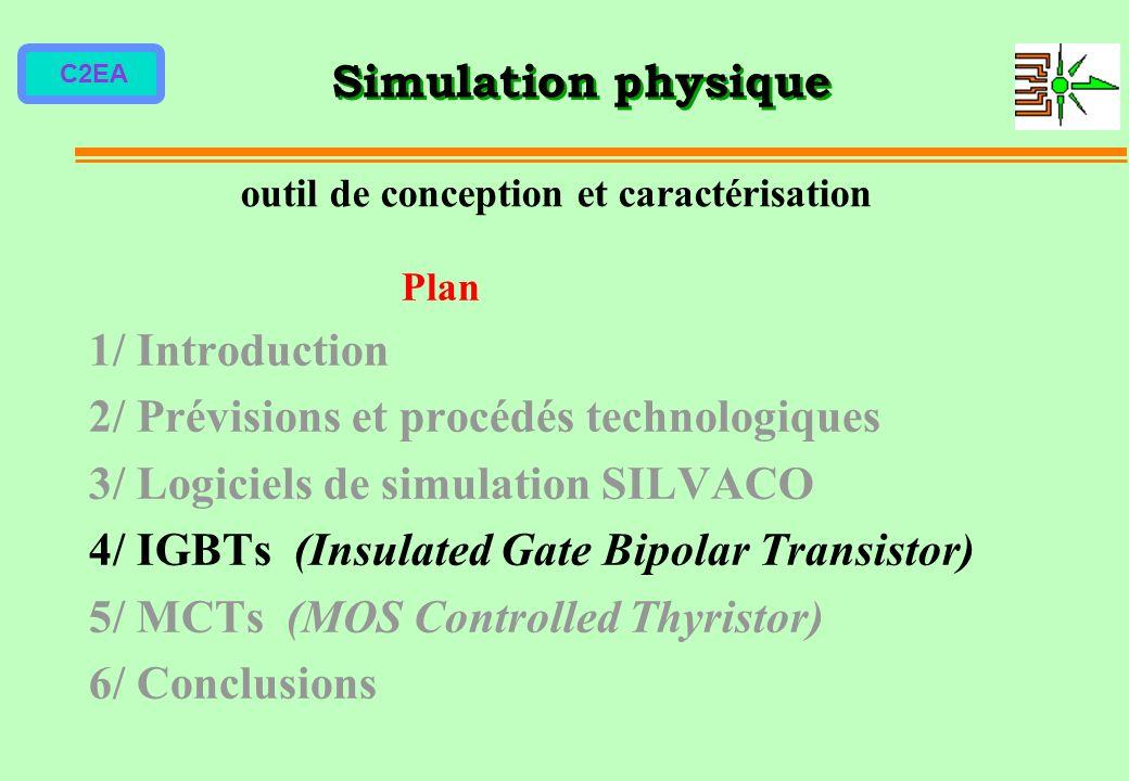 C2EA Plan 1/ Introduction 2/ Prévisions et procédés technologiques 3/ Logiciels de simulation SILVACO 4/ IGBTs (Insulated Gate Bipolar Transistor) 5/