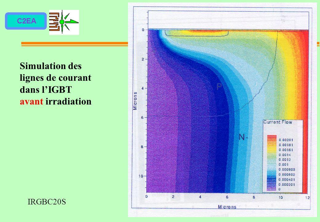 C2EA Simulation des lignes de courant dans lIGBT avant irradiation IRGBC20S