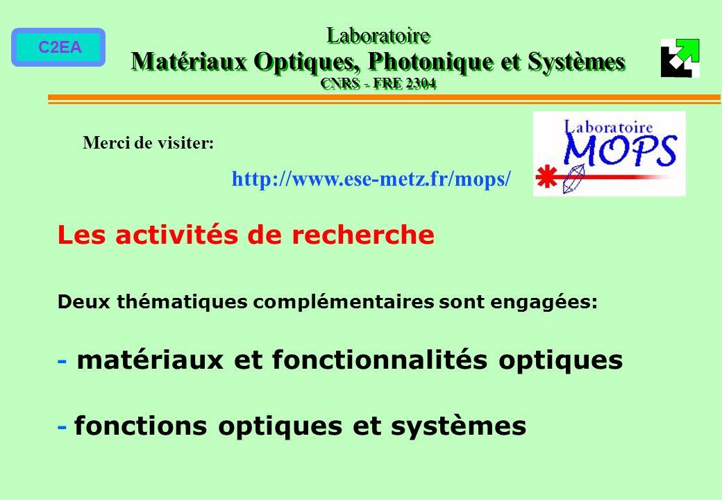 C2EA Les activités de recherche Deux thématiques complémentaires sont engagées: - matériaux et fonctionnalités optiques - fonctions optiques et systèm