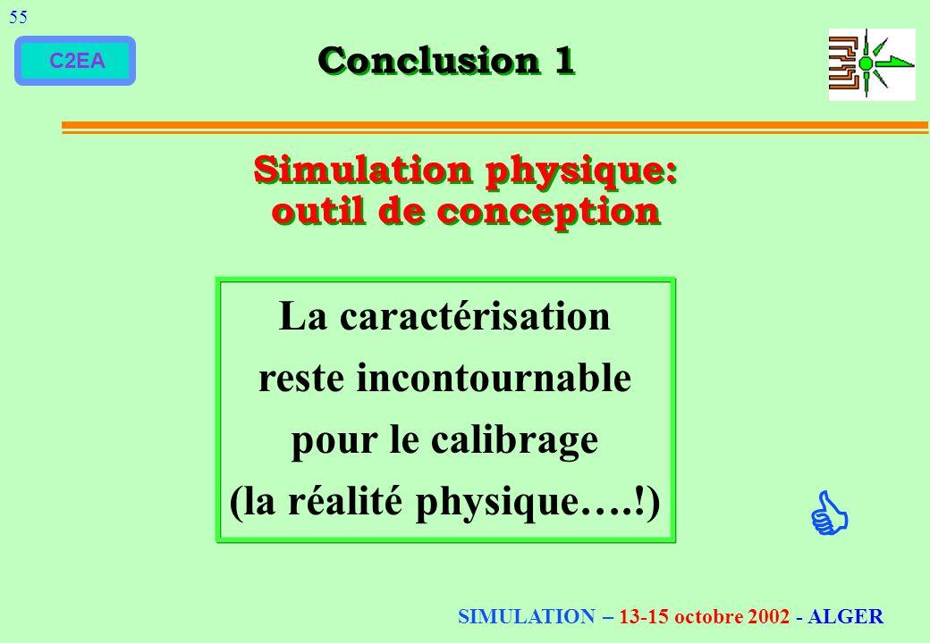 C2EA Conclusion 1 55 Simulation physique: outil de conception La caractérisation reste incontournable pour le calibrage (la réalité physique….!) SIMUL