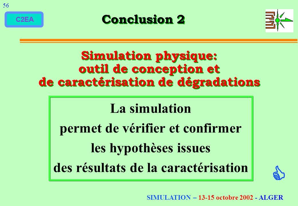 C2EA Conclusion 2 56 Simulation physique: outil de conception et de caractérisation de dégradations La simulation permet de vérifier et confirmer les