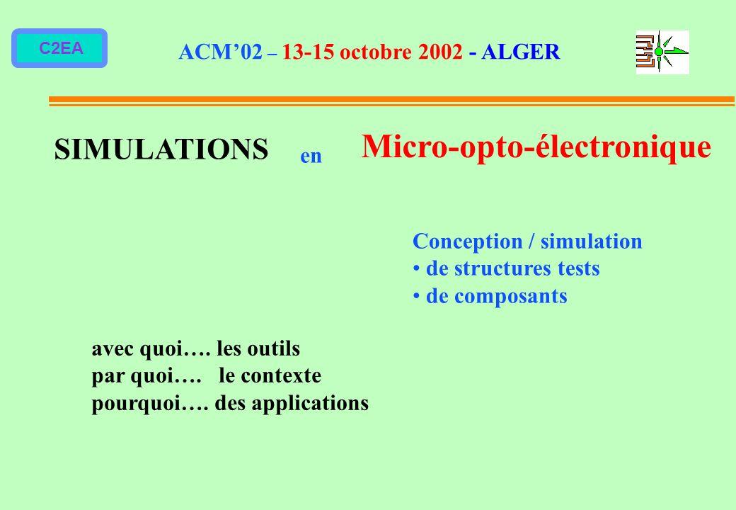 C2EA SIMULATIONS en Micro-opto-électronique avec quoi…. les outils par quoi…. le contexte pourquoi…. des applications ACM02 – 13-15 octobre 2002 - ALG