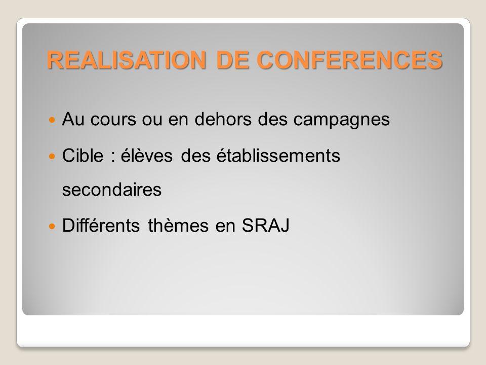 REALISATION DE CONFERENCES Au cours ou en dehors des campagnes Cible : élèves des établissements secondaires Différents thèmes en SRAJ