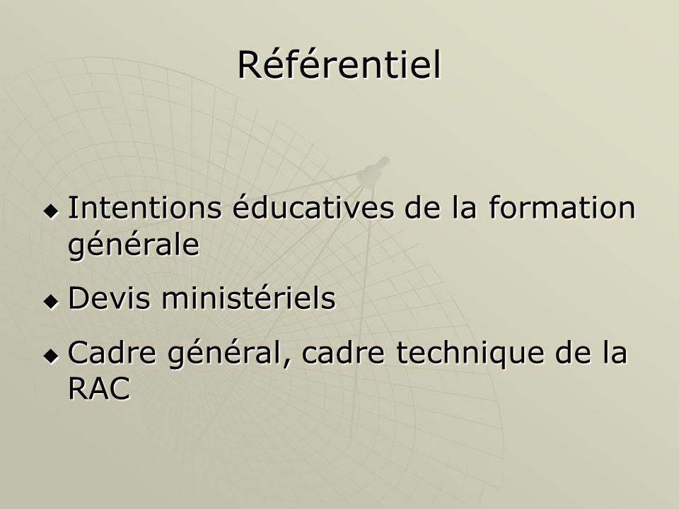 Référentiel Intentions éducatives de la formation générale Intentions éducatives de la formation générale Devis ministériels Devis ministériels Cadre général, cadre technique de la RAC Cadre général, cadre technique de la RAC