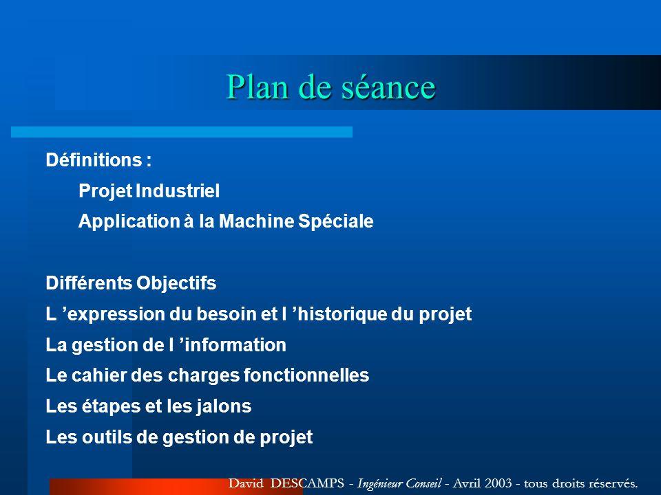 Plan de séance Définitions : Projet Industriel Application à la Machine Spéciale Différents Objectifs L expression du besoin et l historique du projet