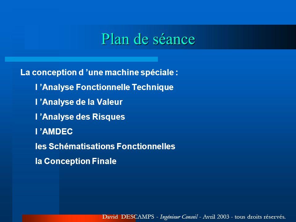 Plan de séance La conception d une machine spéciale : l Analyse Fonctionnelle Technique l Analyse de la Valeur l Analyse des Risques l AMDEC les Schém