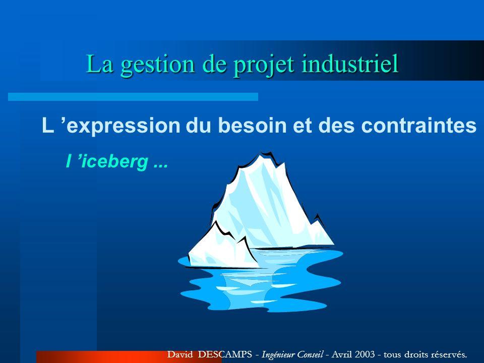La gestion de projet industriel David DESCAMPS - Ingénieur Conseil - Avril 2003 - tous droits réservés. L expression du besoin et des contraintes l ic